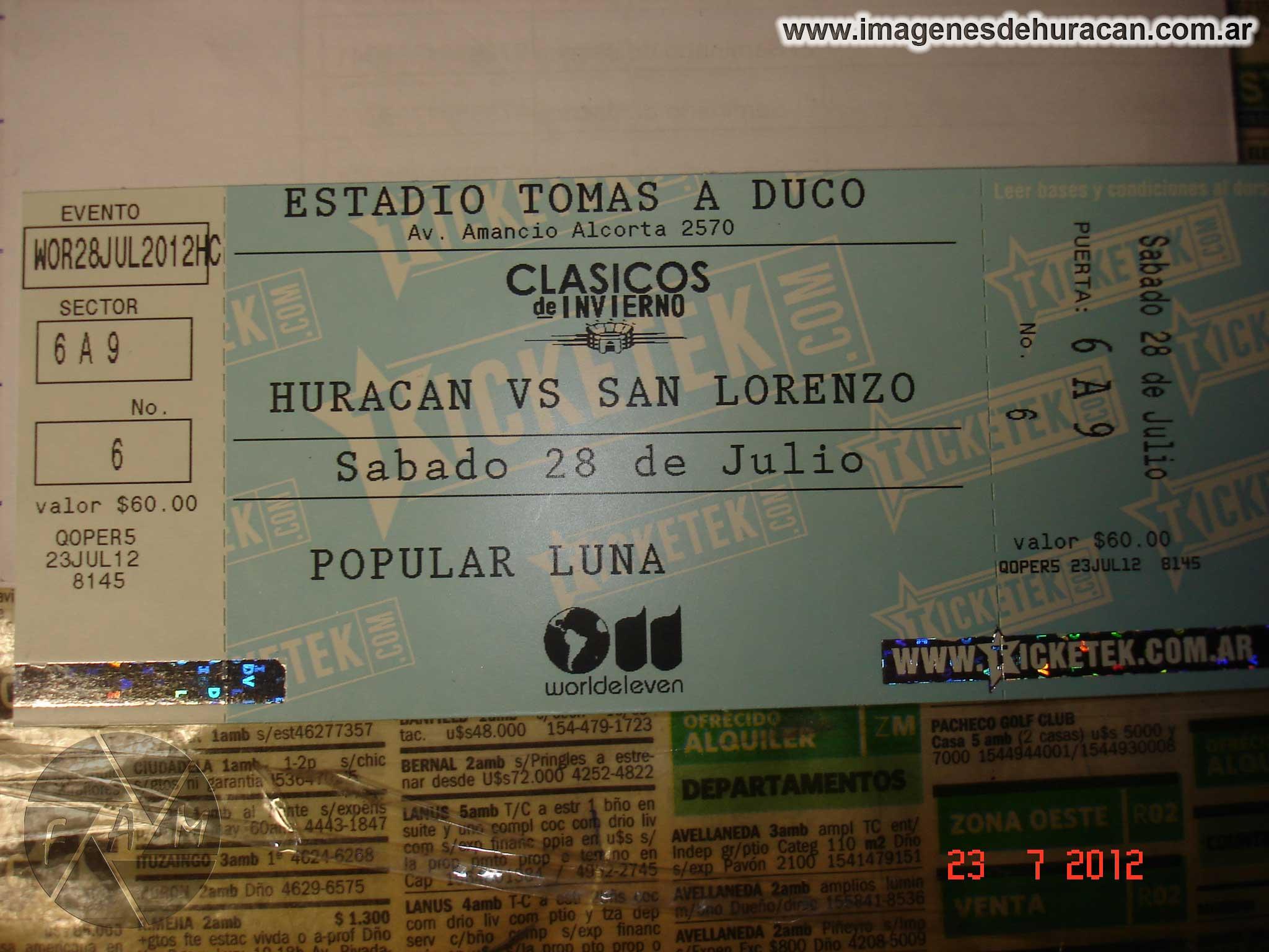 entrada Huracán san lorenzo clasico de invierno 2012
