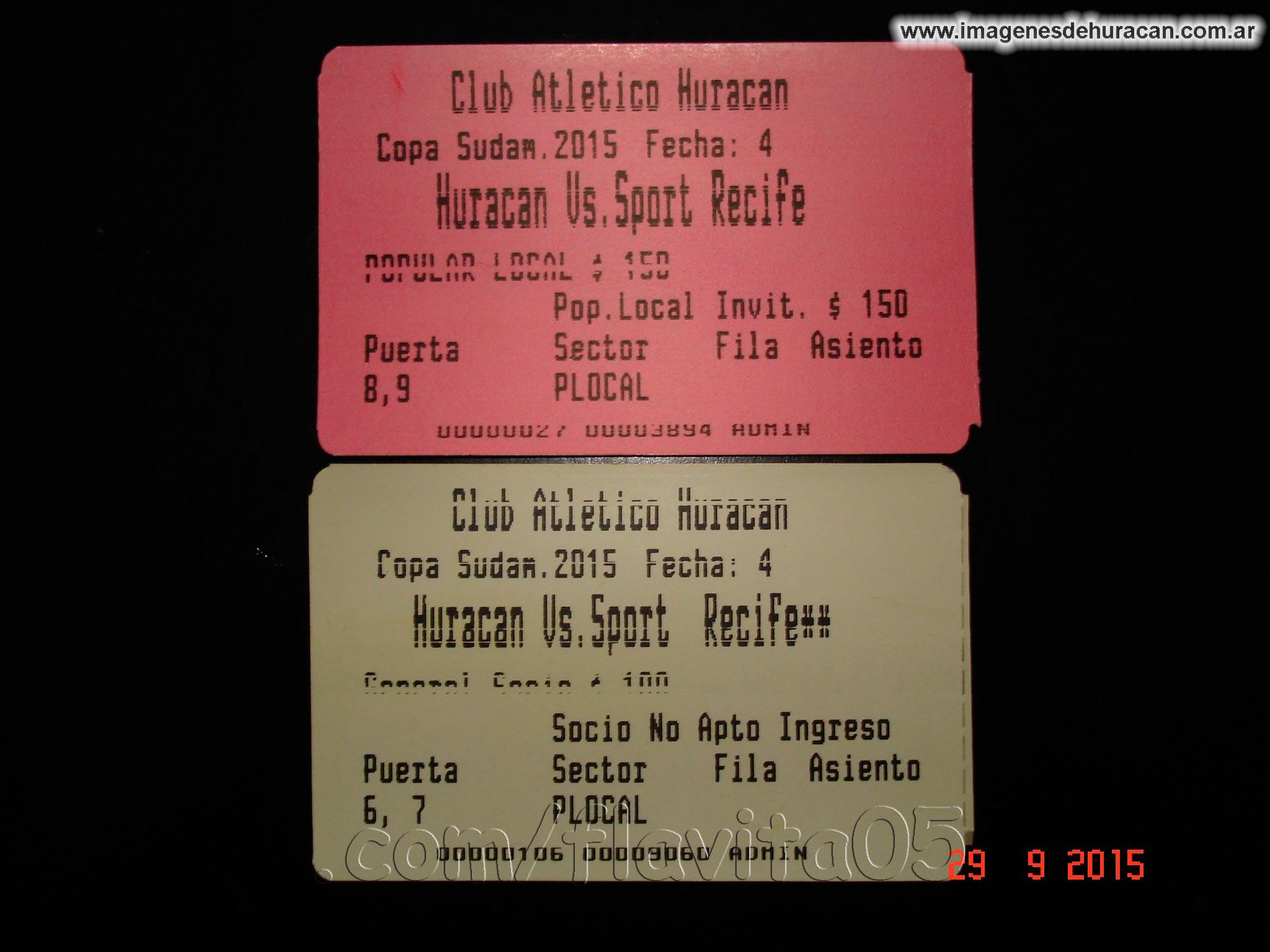entradas Copa Sudamericana - Huracán Vs. Sport Recife