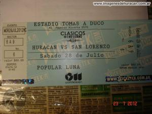 Huracán 0-0 San Lorenzo - clásico de invierno 2012