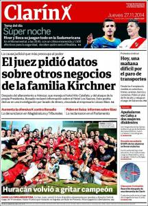 portada diario clarín 27/11/2014