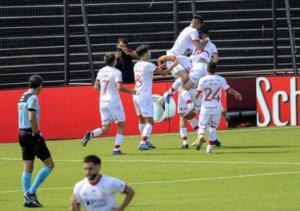 festejo gol de huracán contra newells fecha 08